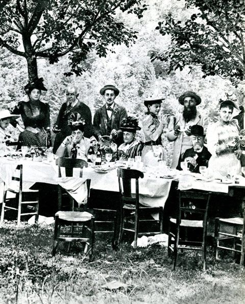 Marcel Proust (1871-1922), during a picnic with family members including his father, Professor Proust, seated on the right.