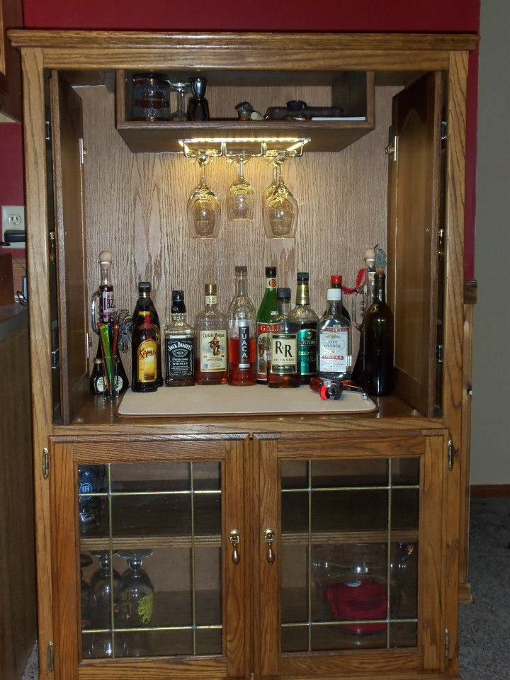 We Got A New Tv And It Didn T Fit Into The Old Entertainment Center So Put Back On Added Wine Gl Rack Made Bar
