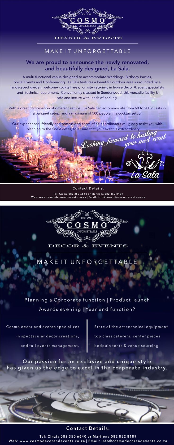 Email flyer. Designed for a client of CopyCatz, Plumstead. I am the designer. #emailflyer #design #eventmanagement #bight #functions