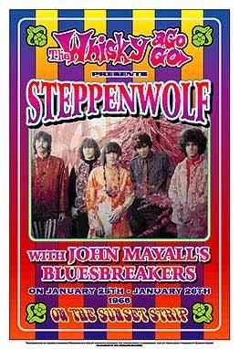 Vintage Steppenwolf concert poster. - Hippie, classic rock.