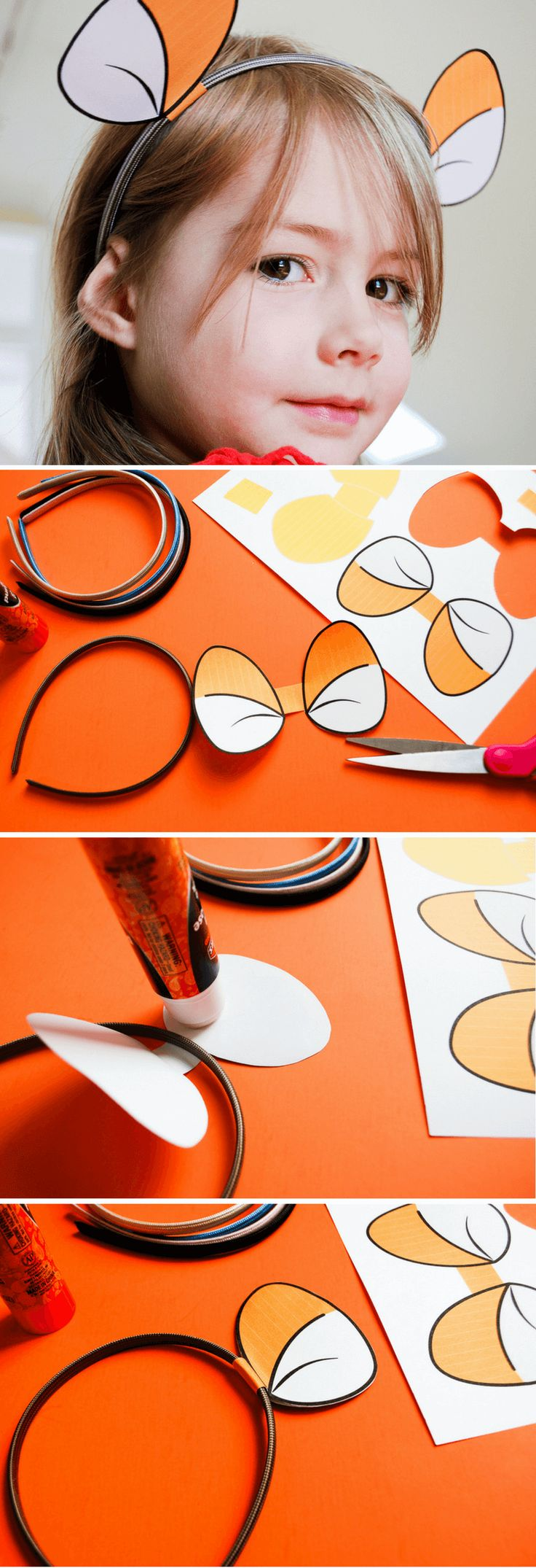 Make DIY Tigger headband using these free printable Tigger ears for your own Hundred Acre Woods celebration. #spon   Free printable Tigger ears | Free printable Winnie the Pooh ears | Free printable Piglet ears | easy Halloween costumes | Winnie The Pooh DIY costume | Piglet DIY costume | Tigger DIY costume