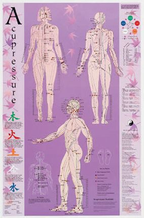 Acupressure uses gentle finger pressure on prescribed points along the energy channels of the body (organ meridians and extraordinary vessels), as identified by ancient knowledge (5000 yrs). Professional practitioners follow charts such as this one when giving treatments.