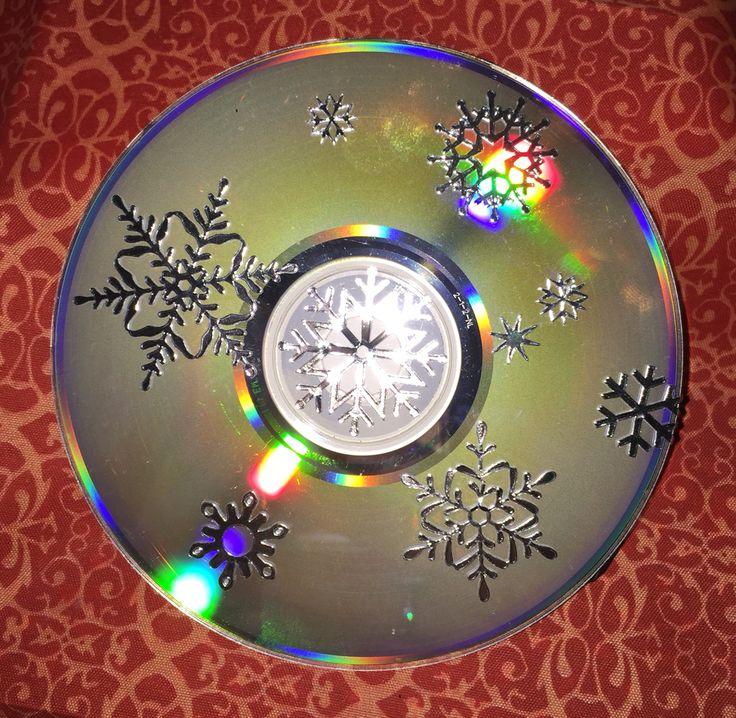 Stickers op een oude CD geplakt.