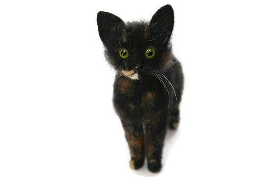 Black Felted Cat Black Cat Kitty Multicolored Cat Green Yellow
