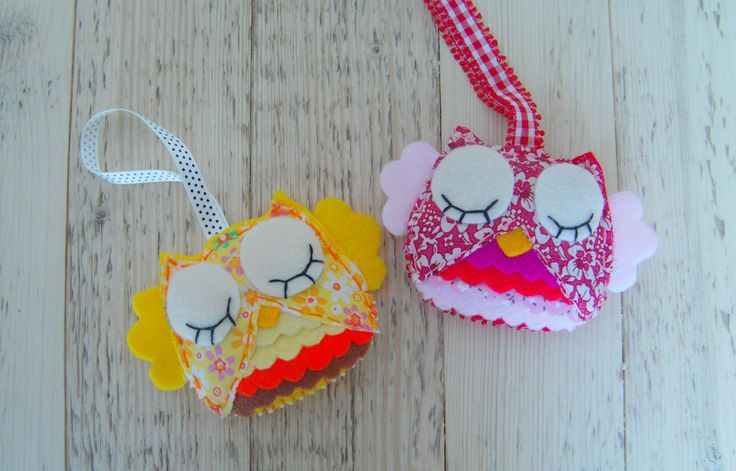 Set of 2 cute owl ornaments with frills. Nursery room decoration, pink and yellow little owls. Custom order available in different colors. by craftoholicsoul on Etsy