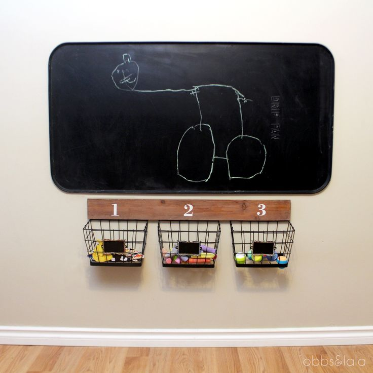 Oil drip pan (under $10) painted with chalk board paint, so it's a chalk board AND magnet board. Basket organizer by UMA Enterprises.