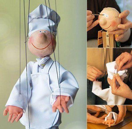 "Una clase magistral - muñeca de la marioneta ""Happy Chef"""