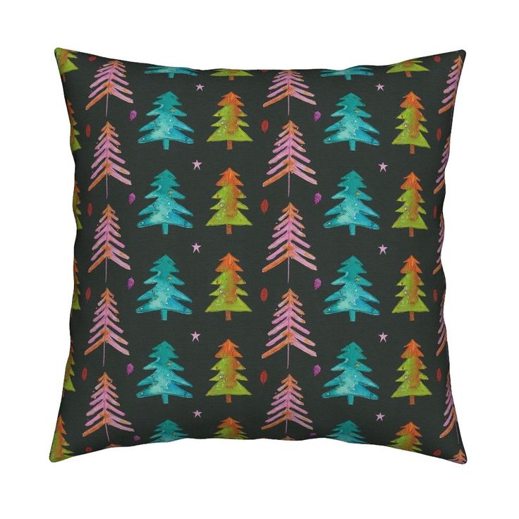 Catalan Throw Pillow featuring Watercolor Christmas Trees 2016 by mariden   Roostery Home Decor