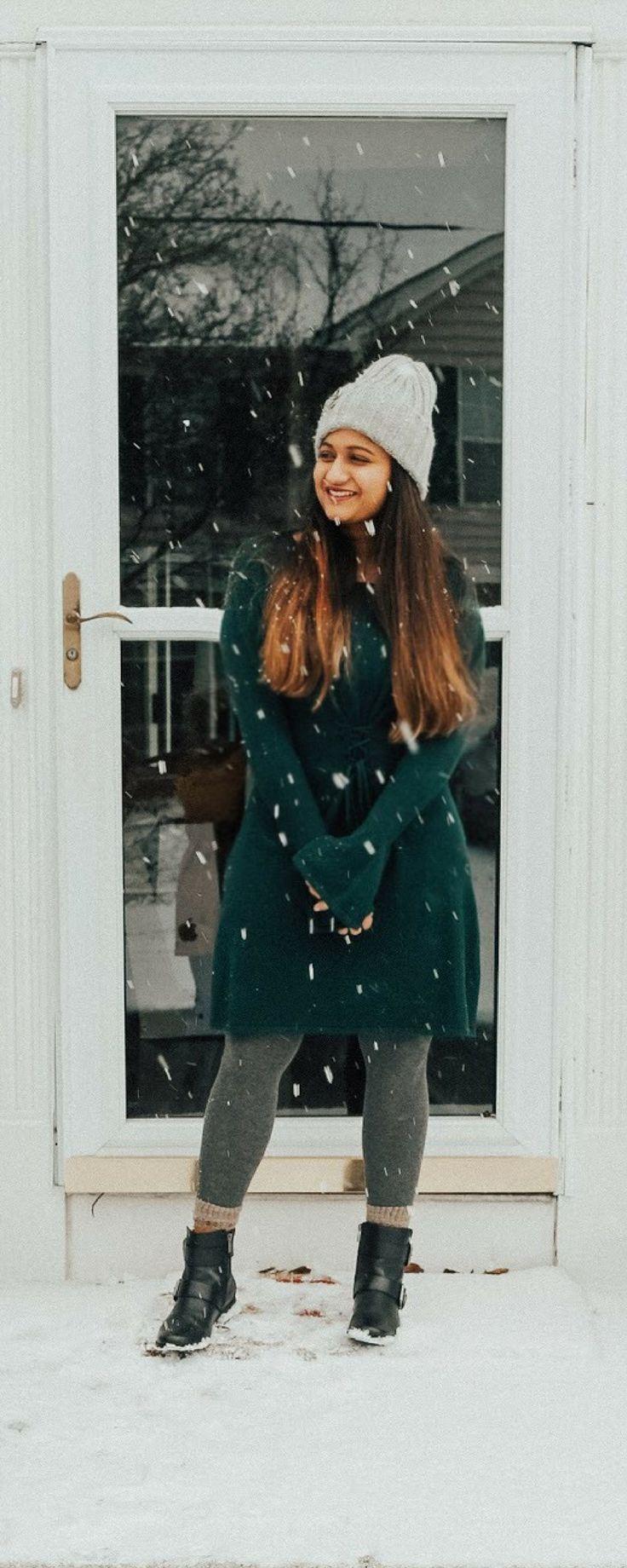 Corset Waist Sweater Dress | dreamingloud.com  ------------------------------------------------ Wool camel trench corset, bell sleeves sweater dress, corset waist, winter trends 2017-2018, first snow ball, embellished beanie, Aetrex moto boots