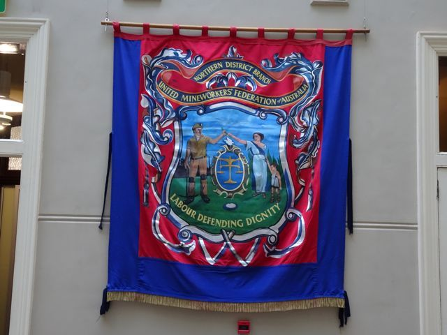 Northern Districts (NSW) banner as part of Miners federation centenary, 1915-2015 Sydney Trades Hall