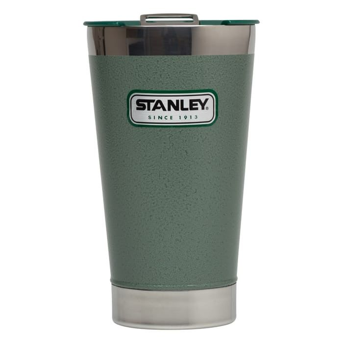 Story  The Classic Vacuum Pint Glass by Stanley. Features  Double wall vacuum insulation Keeps drinks cold 4.5 hours, hot for 1.5 hours Sweat-free exterior 18/8 stainless steel won't rust Naturally BPA-free Built-in bottle opener Press-fit lid helps keep dirt out  MATERIALS   18/8 stainless steel  Dimensions   Holds 16 fl. oz.  Care   Dishwasher safe