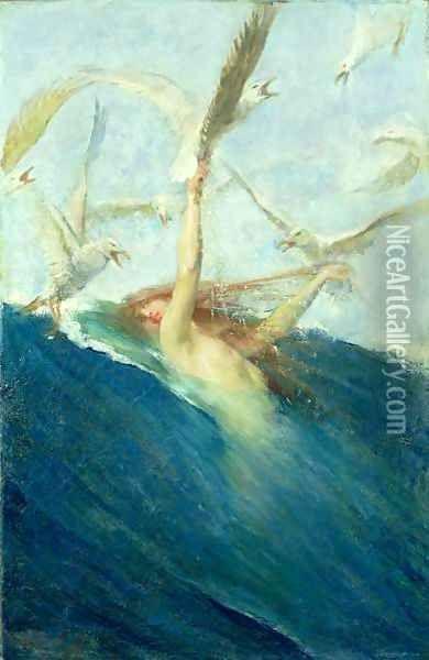 Famous Mermaid Paintings   Mermaid Being Mobbed by Seagulls Oil Painting - Giovanni Segantini