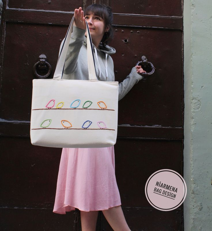 Birds tote bag / hand embroidered / shoulder bag / embroidery modern / reusable / totebag / gift ideas / natural linen fabric bag
