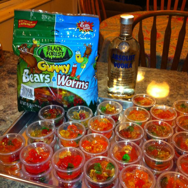 Gummy Shots: Gummy bears  worms divided into cups and soaked overnight in vodka. Can refrigerate or leave on the counter.