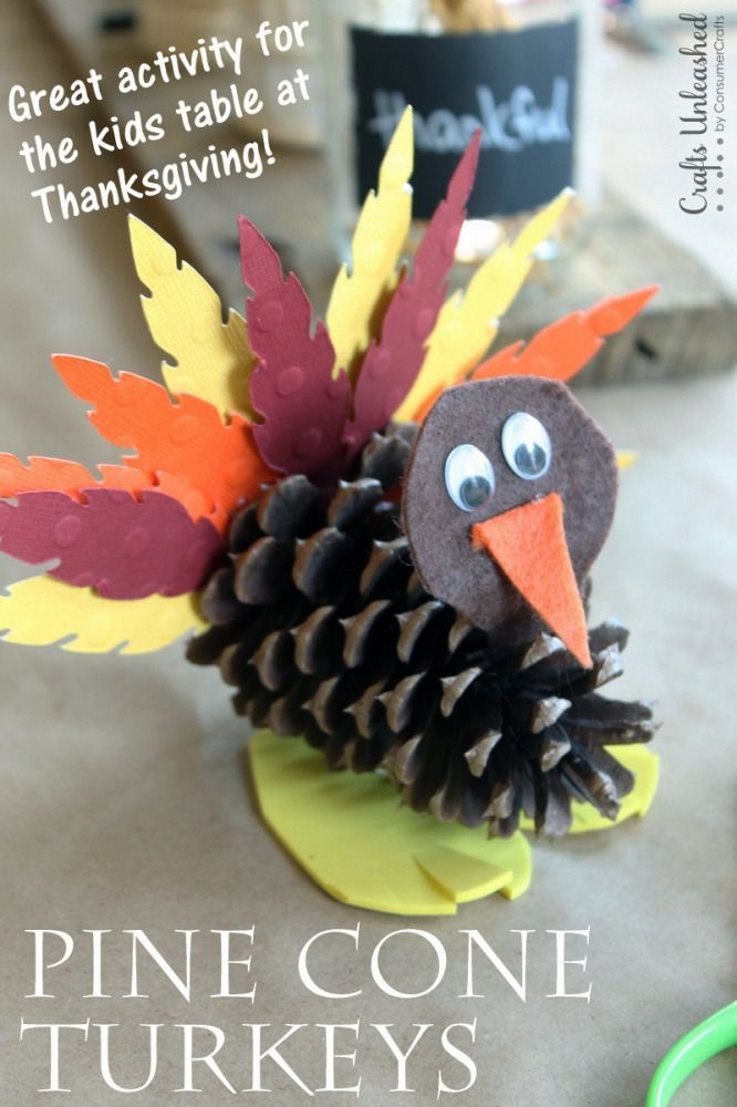 Make these pine cone turkeys for Thanksgiving!  This is the perfect fall craft for the kids table.