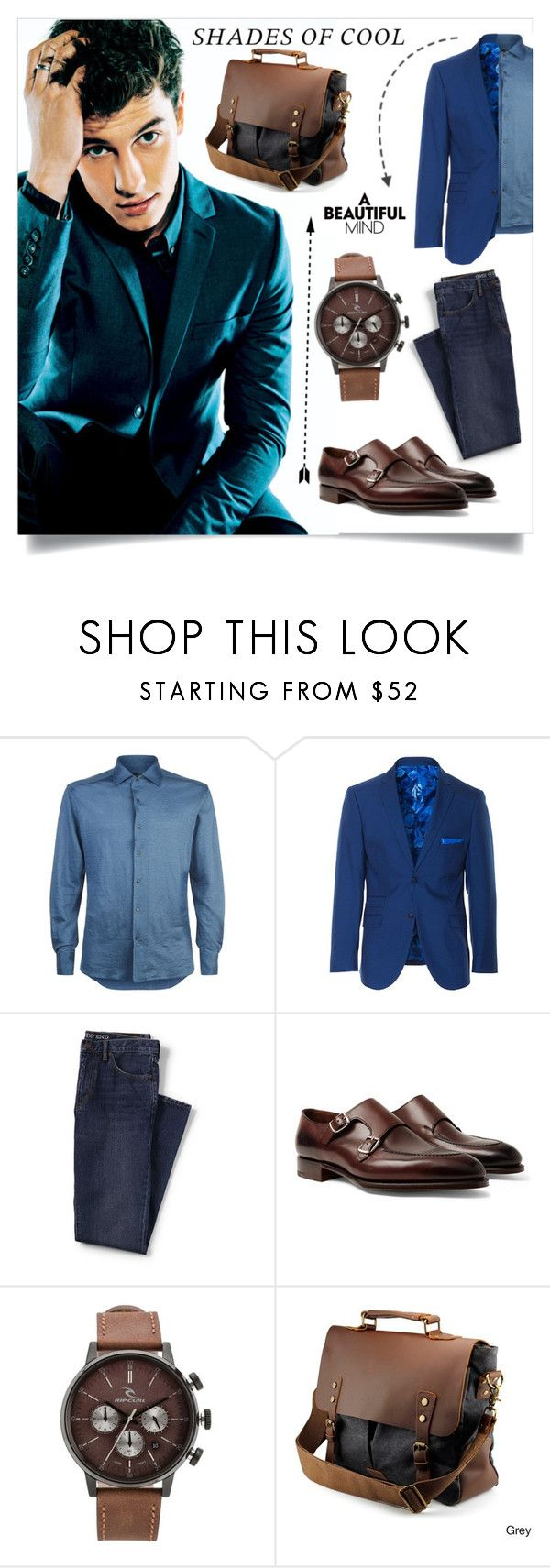 """""""Calm and Collected"""" by thedarkenedprince ❤ liked on Polyvore featuring Corneliani, Paisley & Gray, Lands' End, Edward Green, Rip Curl, Gearonic, men's fashion and menswear"""