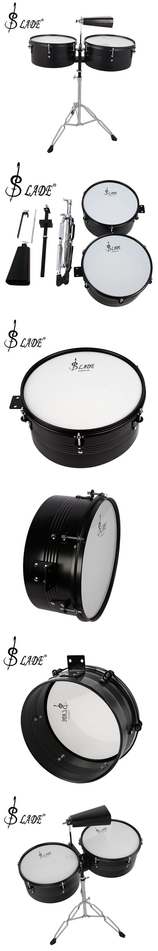"""13"""" & 14"""" Timbales Drum Set with a Premium Steel Cowbell and Cowbell Holder"""