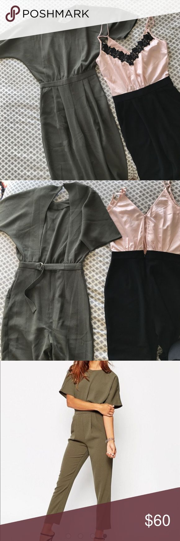 """Jumpsuit LOT XS size 0. Lace pink green backless Two jumpsuits for sale! Same size-- loved them both and only wore each once! Great deal for a jumpsuit lover. I'm 5'5"""" and these were perfect length. Size xs / 0. Lipst brand and ASOS brand ASOS Pants Jumpsuits & Rompers"""