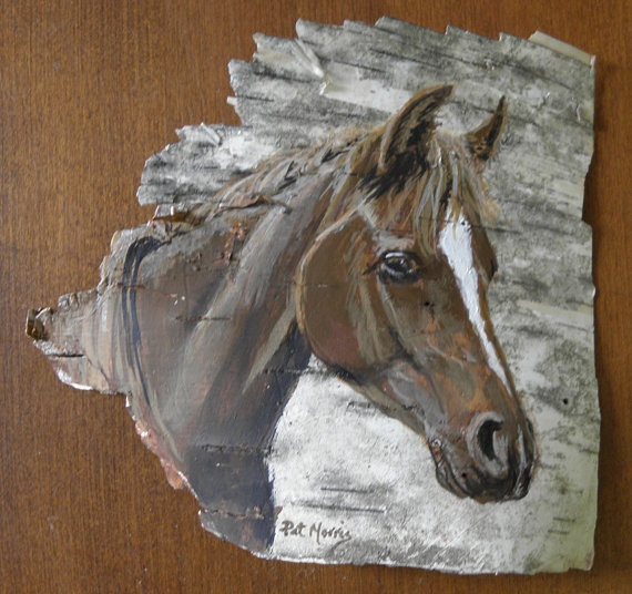 Horse Portrait Hand Painted on Birch Bark by patmorrisartist, $60.00 on etsy