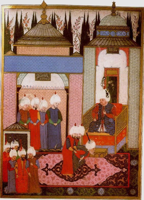 Sultan Selim II receiving the Safavid ambassador in the palace at Edirne in 1567. Two guards are holding him. In former times, a sultan had been attaqued by visitors | Nehzetul-Ahbar der Sefer-i Sigetvar | Nakkas Osman 1568