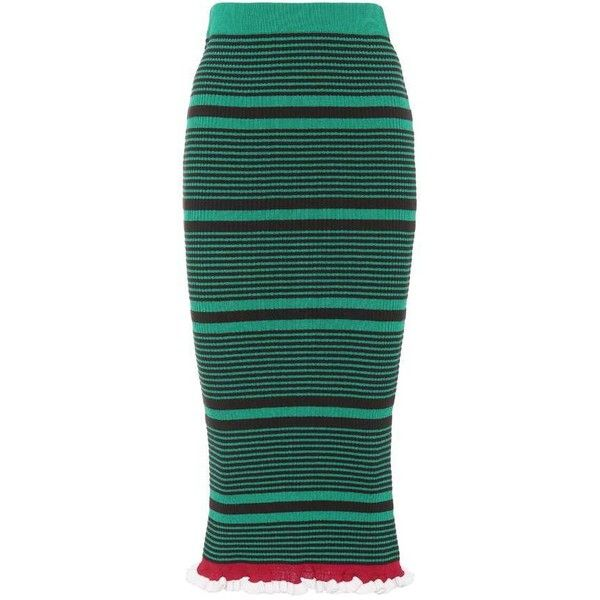 Kenzo Striped Cotton-Blend Skirt ($360) ❤ liked on Polyvore featuring skirts, green, knee-length, kenzo skirt, green skirt, green striped skirt, stripe skirt and kenzo