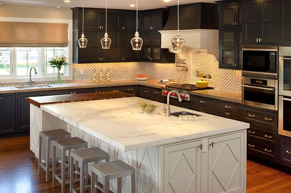 Love the style of the cabinets would just love different cabinet colors! craftsman style kitchen with white island