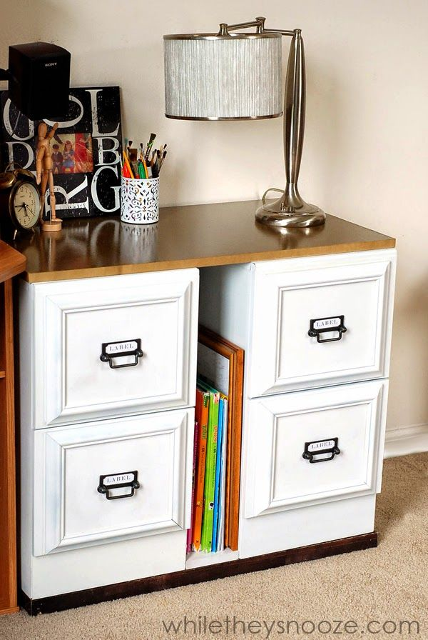 DIY metal file cabinet makeover.  Add a longer top to transform into a desk.  The cabinets looks so pretty and classic!