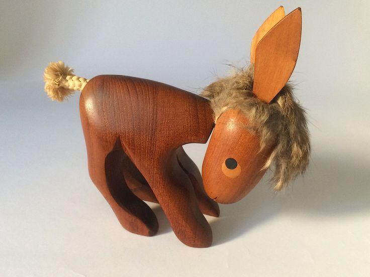 Vintage Donkey Copyright Sveistrup Denmark - Danish mid century teak figurine - Bojesen era by wyvo on Etsy