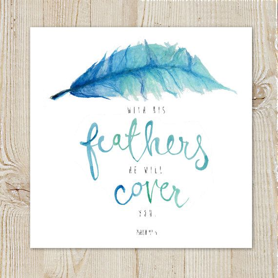 Psalm 91:4 Scripture Bible Verse Feather God is our Safety and Refuge Encouragement Watercolour Painting Instant Download Printable Blue