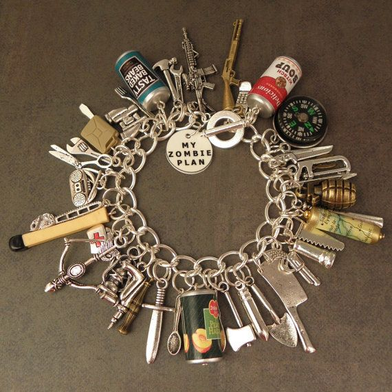 FULLY LOADED Zombie Plan Charm Bracelet For The Zombie Apocalypse by PlayBox
