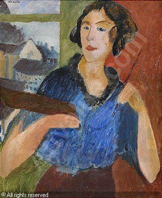 Sigrid Hjertén Grünewald -  Självporträtt med Palett 1913