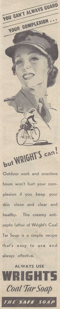 Wright s Coal Tar Soap Advert - Original 1939 Wartime Advert