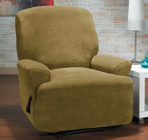 Hanover Camel Recliner Slipcover, plush, velvety surface home decor, form fit slip cover design, living room, interior design, chair