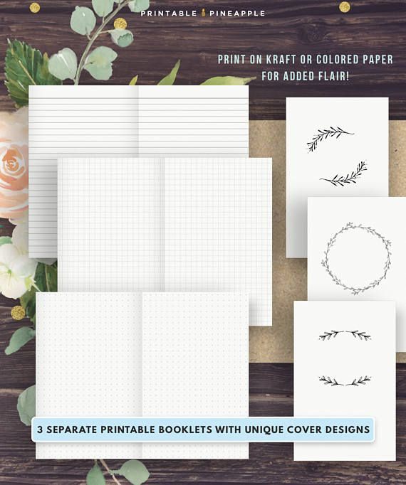 B6 TN Inserts | Travelers Notebook Printable Inserts | Bullet Journal, Dot Grid, Graph Paper, Line Paper, Bujo Setup, Instant Download ad #bulletjournal #inserts #traveljournal #printables