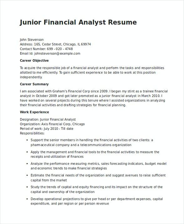 Junior Financial Analyst Resume in Word , Financial Analyst Resume , Are you searching for Financial Analyst resume summary? Take a look at the report below, and read until finish for getting information related to the position.