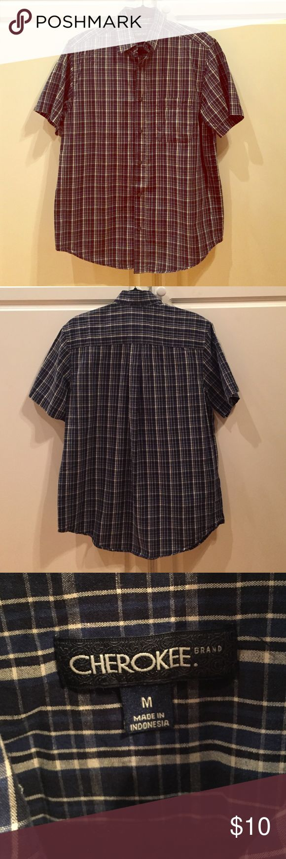 Cherokee Brand Blue Black Plaid Shirt Medium Men's size Medium Plaid Casual Button Down Shirt with a Navy Blue, Black and White Plaid Print. Excellent condition, only worn two or three times. No rips, stains or tears and comes from a smoke free home. Cherokee Shirts Casual Button Down Shirts