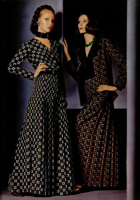 1970 - Yves Saint Laurent Collection spring/summer 1970 ~ the psychedelic influence carried over from 1969 is visible in the prints, but toned down this time