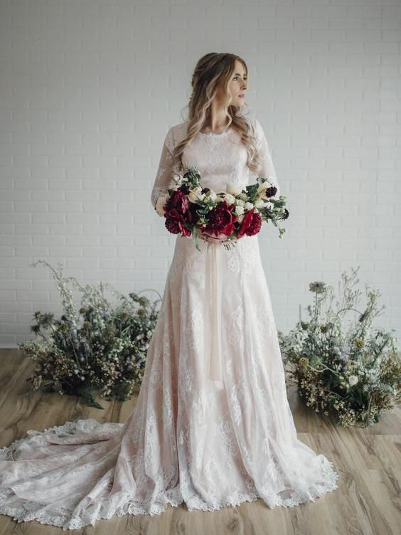 Long Sleeve Lace Wedding Dresses Plus Size Vintage Rustic Wedding Dress awd1138