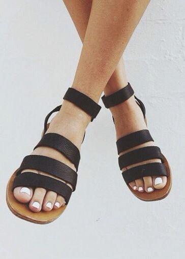Black sandals.