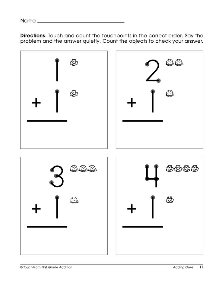Free Printable Touchpoint Math Worksheets : Single digit touch math addition worksheets st grade