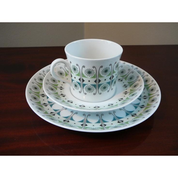 Vintage Upsala Ekeby Karlskrona cup and saucer designed by