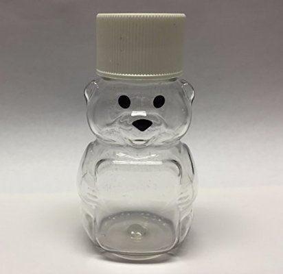 "24 Pack of 2 oz. Honey Bear Plastic Squeeze Bottle with Screw Cap Small Miniature 2 3/4"" Jar Container Wedding Party Favors (White)"