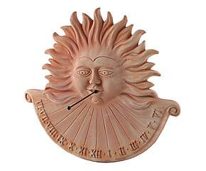 Meridiana in terracotta toscana rifinita a mano Sun - 45x3x46 cm