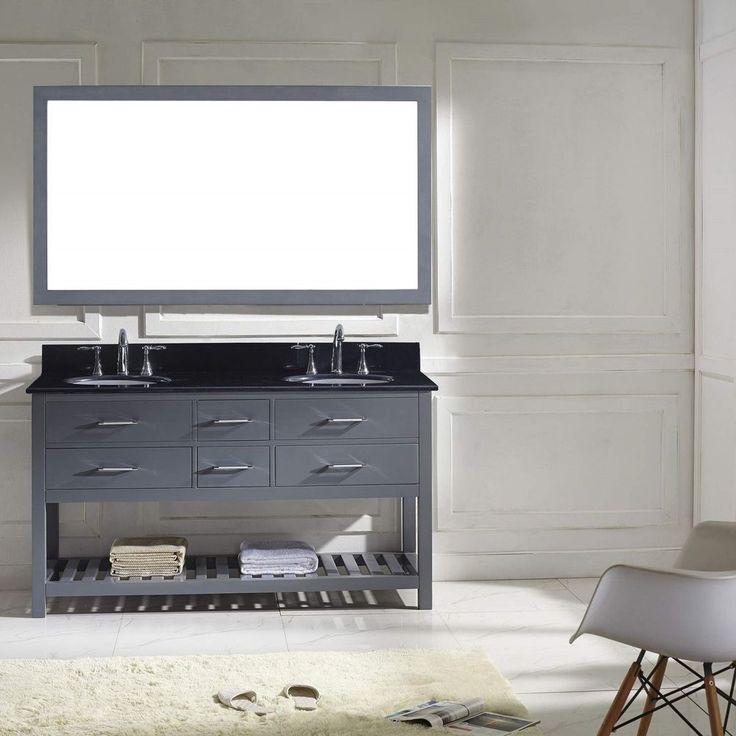 "Caroline Estate 60"" Double Bathroom Vanity Set in Grey/Black Granite/Round Sink #Unbranded"