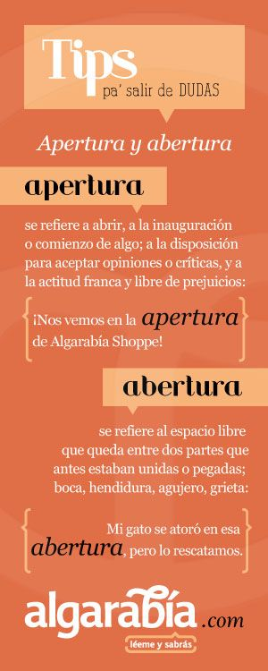 Apertura y abertura #tip #lengua #español