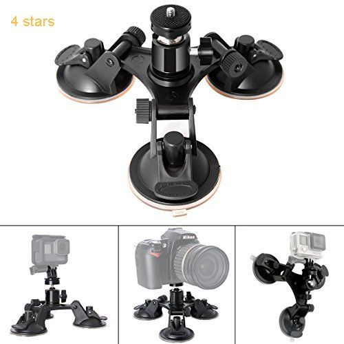 Fantaseal Triple Cup DSLR Camera Suction Mount w/Ball Head for Nikon Canon Sony DSLR /Camcorder  GoPro Hero 5 /4/3 Sony Garmin TomTom Xiaomi Yi SJCAM Suction Cup Mount Car Mount Holder Window Mount