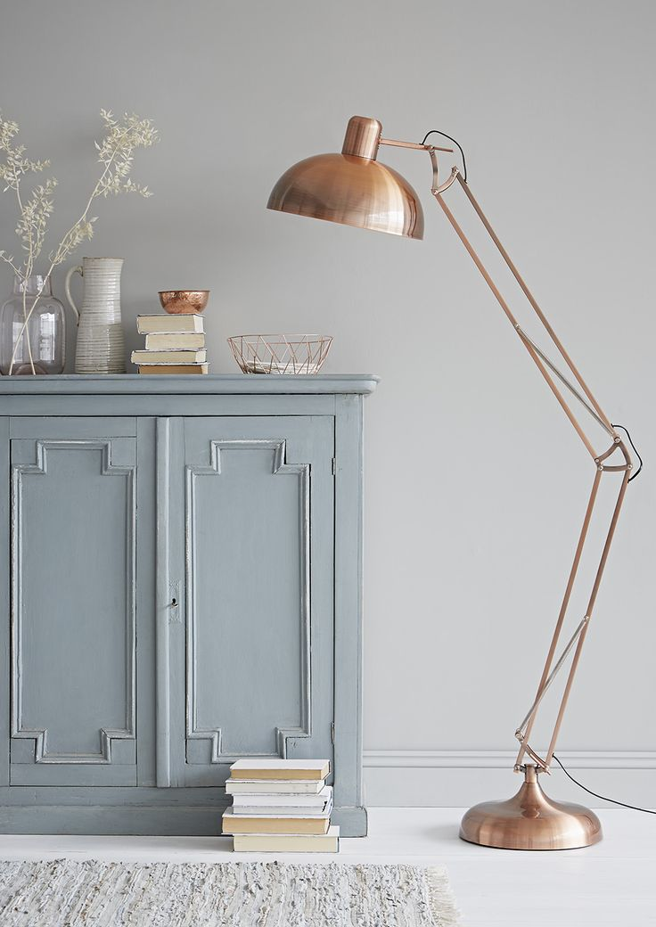 Deliberately Muted With A Dark Grey Antiquing Effect This Large Copper Floor Lamp Would Be