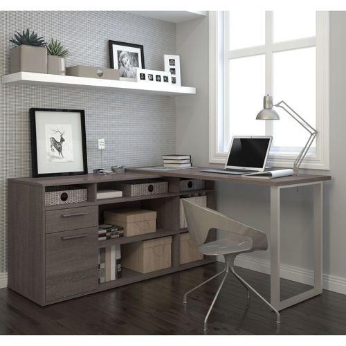 Gray Home Design Ideas: Дизайн домашнего офиса, Г-образный