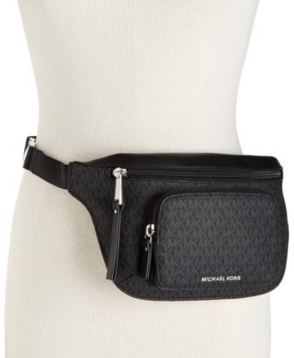 51a1e218ec91ab MICHAEL Michael Kors Double-Zipper Signature Belt Bag | macys.com ...