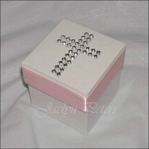 24 Girls White And Pink Rhinestone Cross Baptism, Communion Favor Box on Etsy, $84.00